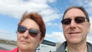 Photo of Veronica Makowsky, Professor Emerita, traveling with her husband, Jeff Gross